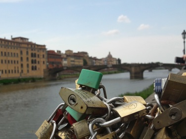 Pretty padlocks along the Arno lake