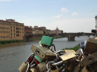 Pretty padlocks along the Arno lake